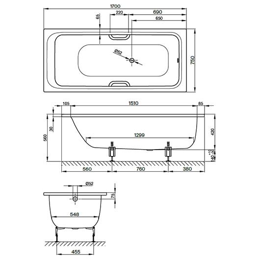 Ванна Bette Select 3412-004 (1700х750 мм, белый матовый) шумоизоляция
