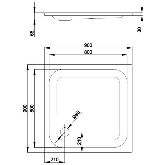 Душевой поддон Bette Supra 5920-000 (900х900 мм) шумоизоляция