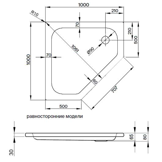 Душевой поддон Bette Caro 7220-000 (1000х1000 мм) шумоизоляция