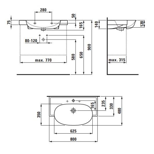 Раковина Laufen New Classic 1385.5 (8.1385.5.400.104.1, LCC 800х480 мм)