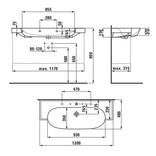 Раковина Laufen New Classic 1385.8 (8.1385.8.400.104.1, LCC 1200х480 мм)