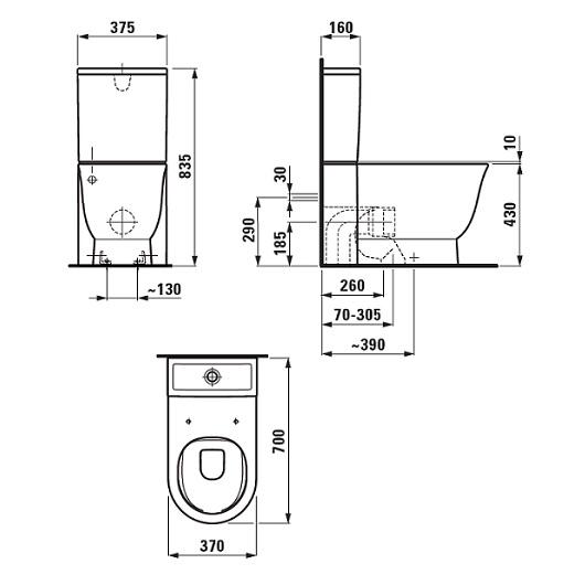 Чаша напольного унитаза Laufen New Classic 2485.8 (8.2485.8.000.000.1) безободковая Rimless