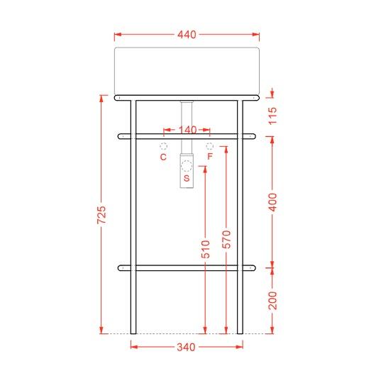 Металлическая консоль для раковины ArtCeram Vogue ACA058 17 (черная матовая)