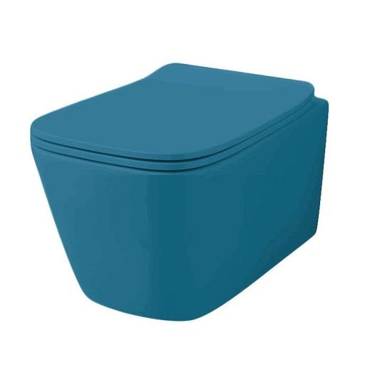 Чаша подвесного унитаза ArtCeram A16 Rimless ASV003 38 00 безободковая (Blue Avio Matt)