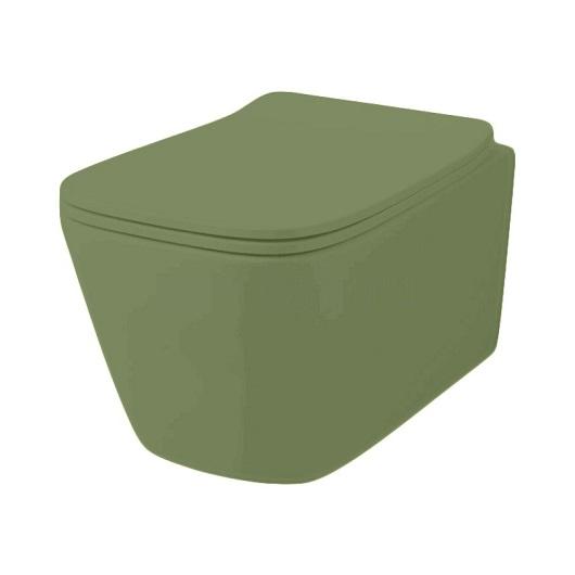 Чаша подвесного унитаза ArtCeram A16 Rimless ASV003 44 00 безободковая (Green Salvia Matt)