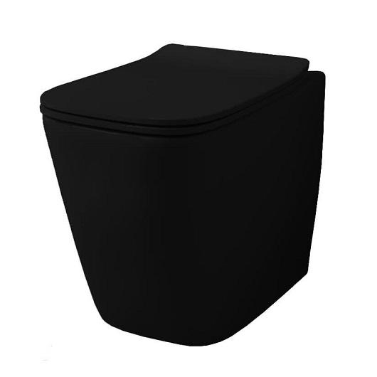 Чаша приставного унитаза ArtCeram A16 Rimless ASV004 17 00 безободковая (черная матовая)