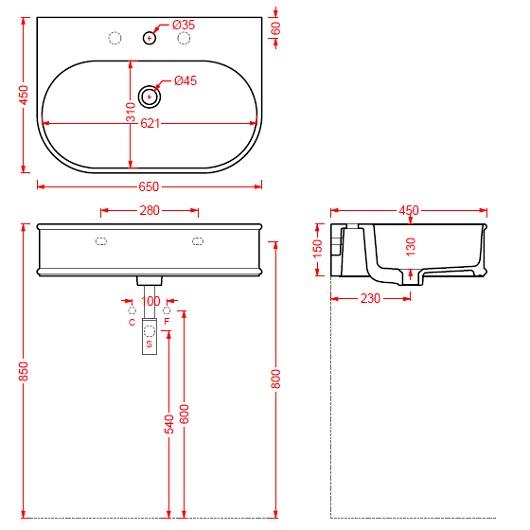 Раковина ArtCeram Atelier ATL003 05 00 (650х450 мм) (белая матовая)