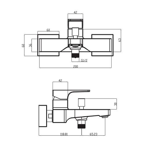 Смеситель для ванны Villeroy & Boch Architectura Square TVT12500100061
