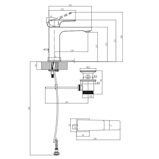 Смеситель для раковины Villeroy & Boch Architectura Square TVW12500100061