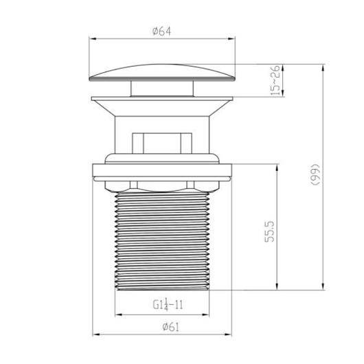 Нажимной донный клапан Villeroy & Boch Universal TVP00000301061 (для раковин с переливом)