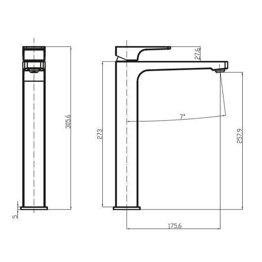 Смеситель для раковины Villeroy & Boch Architectura Square TVW12500200061 высокий