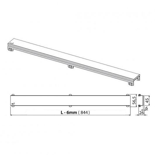 Декоративная решетка AlcaPlast GL1204-850 (850 мм) черное стекло