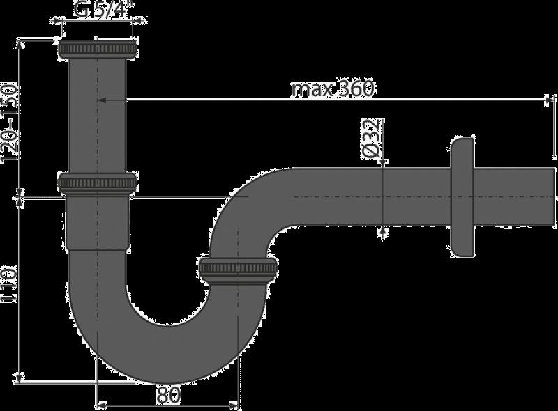 Сифон для раковины AlcaPlast A4320BLACK (черный матовый)