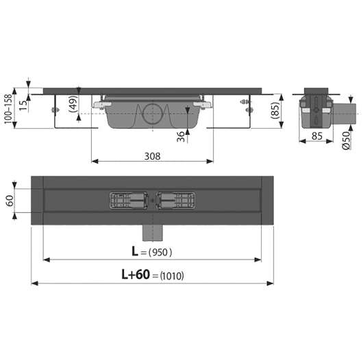 Водоотводящий желоб AlcaPlast APZ1BLACK-950 (950 мм, черный матовый)