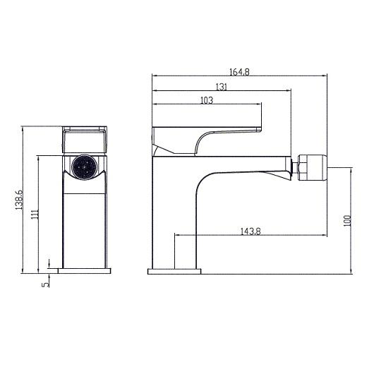 Смеситель для биде Villeroy & Boch Architectura Square TVB12500100061