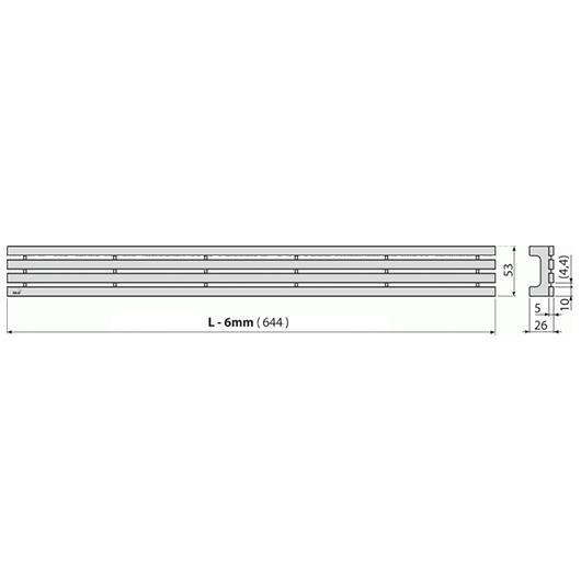 Декоративная решетка AlcaPlast GAP-650M (650 мм) матовый