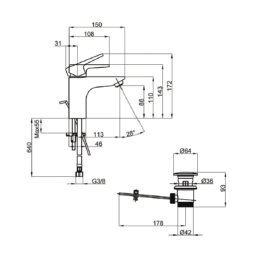 Смеситель для раковины Villeroy & Boch Subway 2.0 TVW10210111061