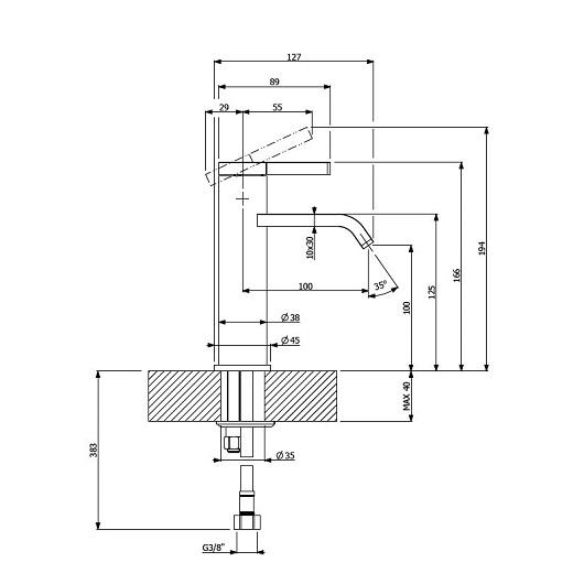 Смеситель для раковины Villeroy & Boch Dawn TVW10610315261 (без донного клапана)