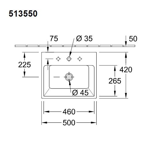Раковина накладная Villeroy & Boch Memento 5135 50 01 (51355001) (500х420 мм)