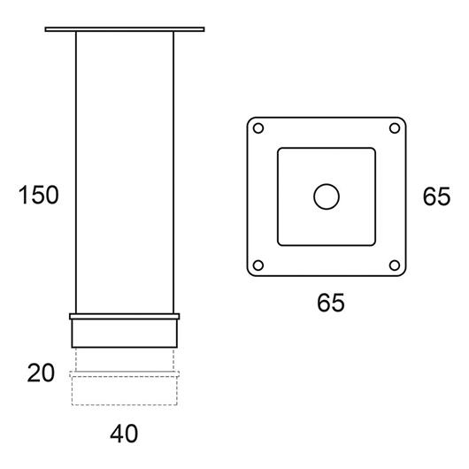 Ножки для мебели OWL 1975 OW99.00.00 (хром, 150 мм)