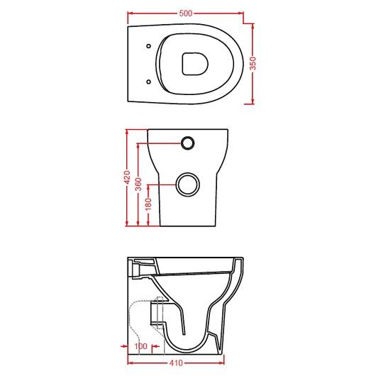 Чаша приставного унитаза ArtCeram Smarty 2.0 Rimless SMV002 01 00 безободковая