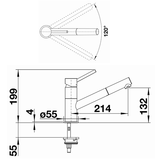 Смеситель Blanco Kano-S 525039 (хром/алюметаллик)