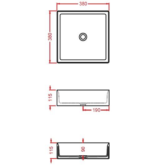 Раковина накладная ArtCeram Scalino 38 SCL001 17 00 (380х380 мм) черная матовая