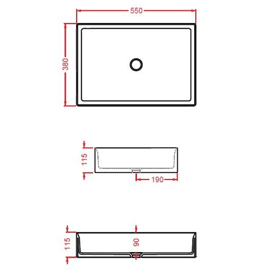 Раковина накладная ArtCeram Scalino 55 SCL002 25 00 (550х380 мм) Arabica Matt (фактура-цемент)