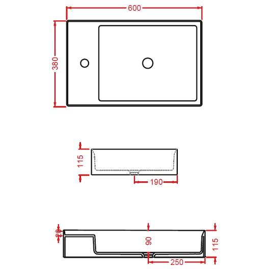 Раковина накладная ArtCeram Scalino 60 SCL003 17 00 (600х380 мм) черная матовая