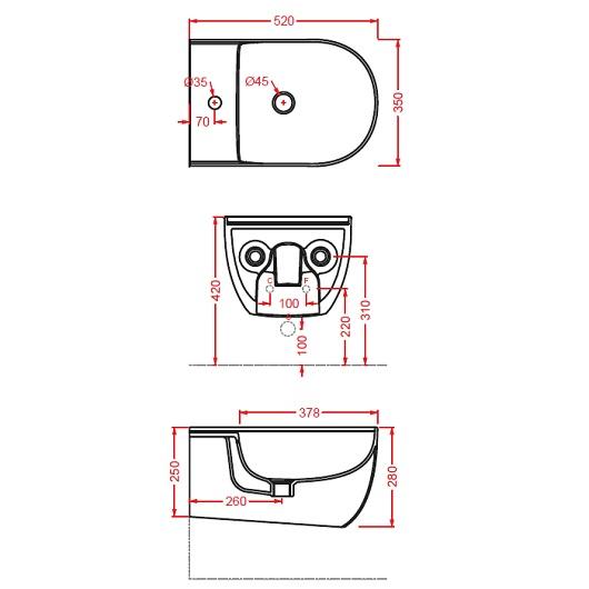 Биде подвесное ArtCeram The One THB001 05 00 (белое матовое)
