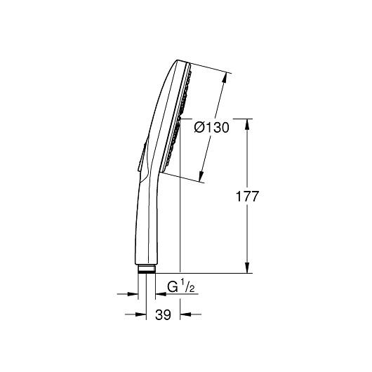 Ручной душ Grohe Rainshower 130 SmartActive 26574GN0 (9,5 л/мин, холодный рассвет, матовый)