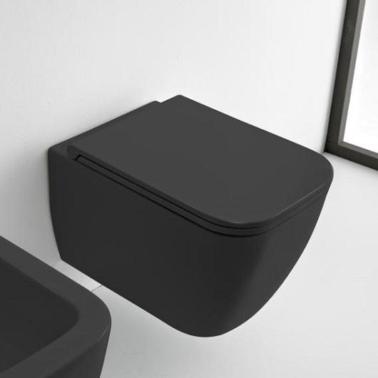 Чаша подвесного унитаза Scarabeo Teorema 2.0 Clean Flush 5126/CL/49 безободковая (черный матовый)