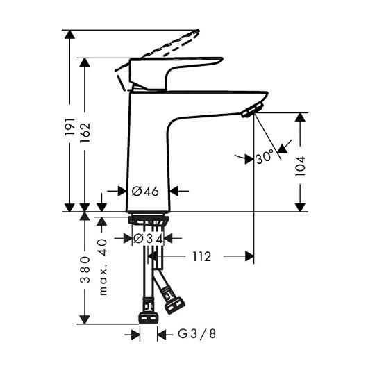 Смеситель для раковины Hansgrohe Talis E 71712670 (матовый черный)