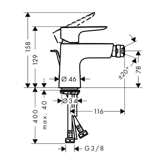 Смеситель для биде Hansgrohe Talis E 71720140 (шлифованная бронза)