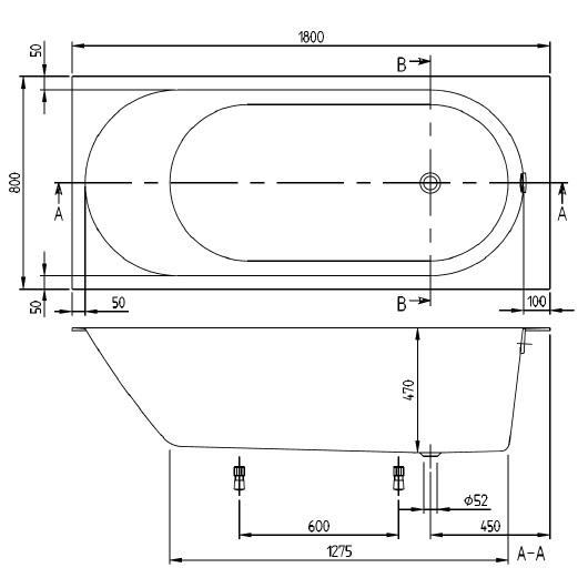 Ванна квариловая Villeroy & Boch Oberon 2.0 180х80 UBQ181OBR2DV-01 (белый Alpin)