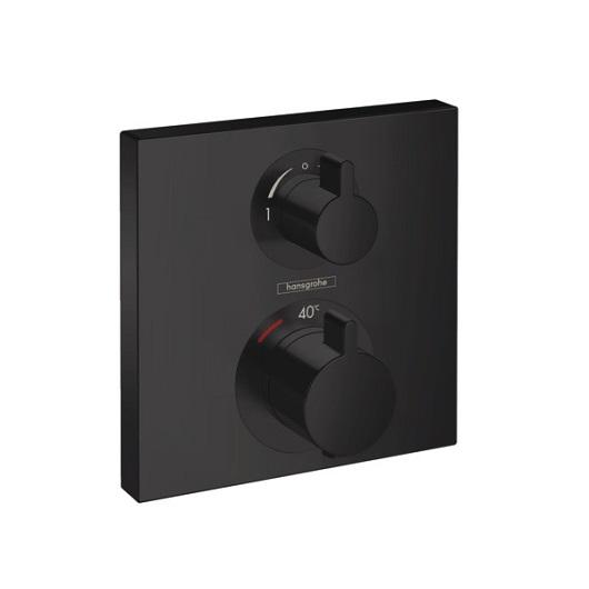 Термостат с запорным/переключающим вентилем Hansgrohe Ecostat Square 15714670 (матовый черный)