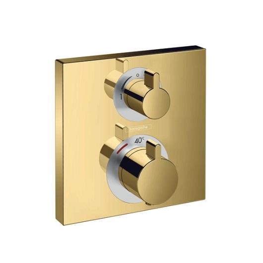 Термостат с запорным/переключающим вентилем Hansgrohe Ecostat Square 15714990 (полированное золото)