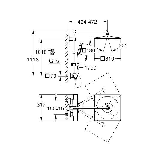 Душевая система Grohe Rainshower SmartActive 310 26652000 (9,5 л/мин)