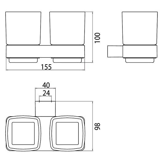 Стакан настенный двойной Emco Loft 0525 001 00 (052500100)