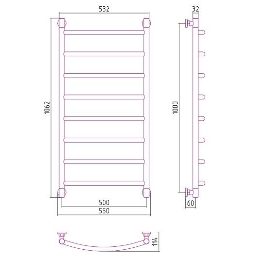 Полотенцесушитель водяной Сунержа Галант+ 00-0200-1050 (1000х500 мм)