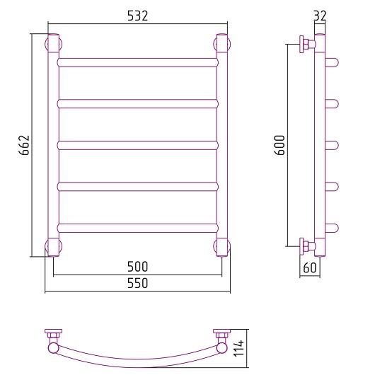 Полотенцесушитель водяной Сунержа Галант+ 00-0200-6050 (600х500 мм)