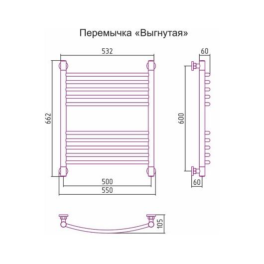 Полотенцесушитель водяной Сунержа Богема+ 00-0221-6050 (600х500 мм, перемычка выгнутая)