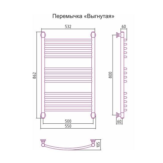 Полотенцесушитель водяной Сунержа Богема+ 00-0221-8050 (800х500 мм, перемычка выгнутая)