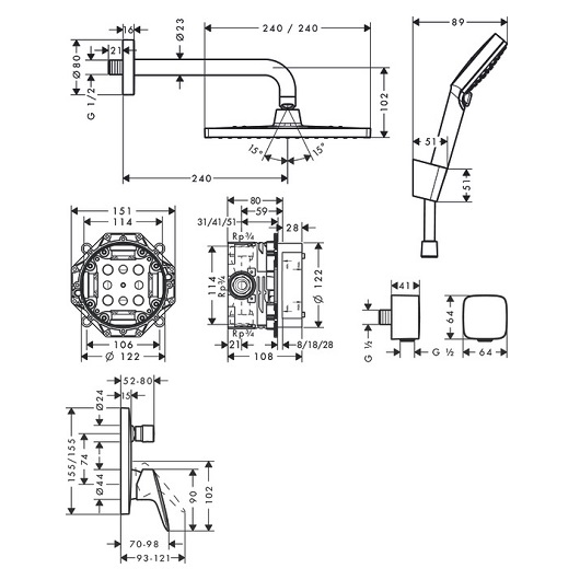 Душевая система Hansgrohe Crometta E 27957000