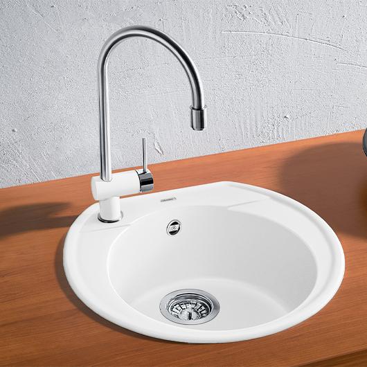 Мойка кухонная Blanco Rondoval 45 515671 (белый, 535х490мм)