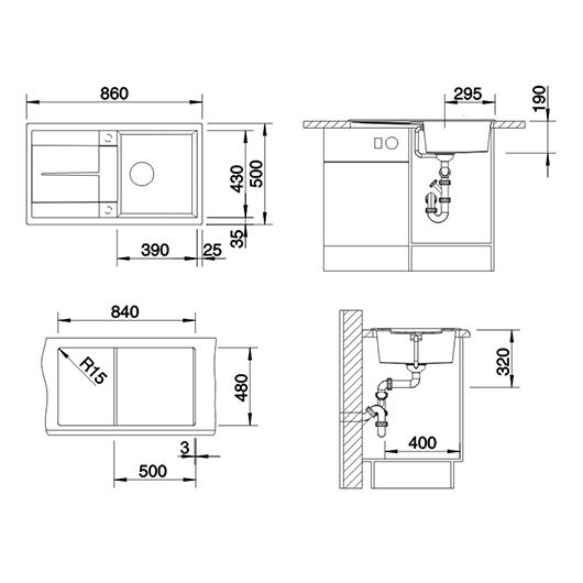 Мойка кухонная Blanco Metra 5 S 525918 (черный, 860х500 мм)