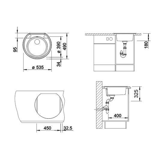 Мойка кухонная Blanco Rondoval 45 518915 (темная скала, 535х490мм)