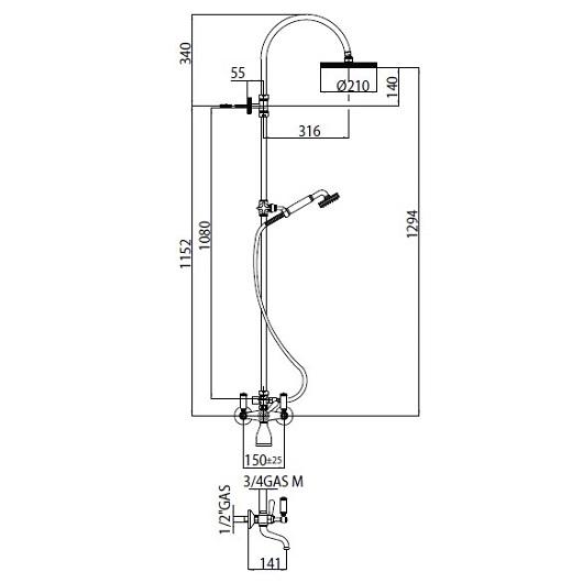 Душевая система Bossini Liberty L01203 CR (хром глянцевый)