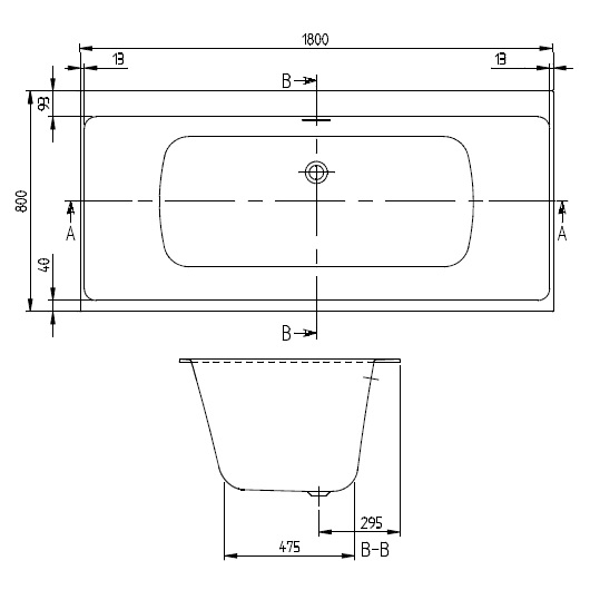 Ванна квариловая Villeroy & Boch Subway 3.0 180х80 UBQ180SBW2DV-01 (белый Alpin)