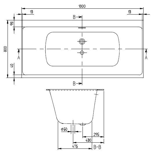 Ванна квариловая Villeroy & Boch Subway 3.0 180х80 UBQ180SBW2TDV-01 (белый Alpin)